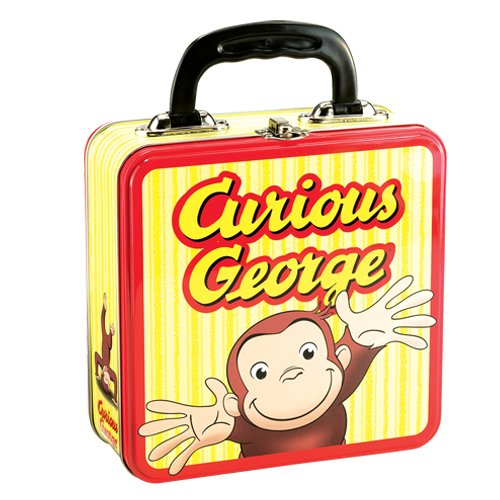 Vandor 53592 Curious George Large Square tin Tote, Yellow and - Curious Lunch Box George