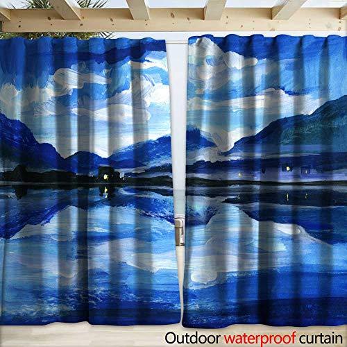 warmfamily Drape for Pergola Curtain Original Oil Painting of The Twilight on Mountain Lake Altai Drapery W108 x L108