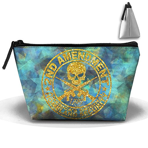 Geisha Halloween Makeup (2nd Amendment America's Original Homeland Security Skull Portable Trapezoid Cosmetic Makeup Bag Travel Case Multi-Functional Zipper Closure Pouch Storage Bag For Toiletry And Skincare)