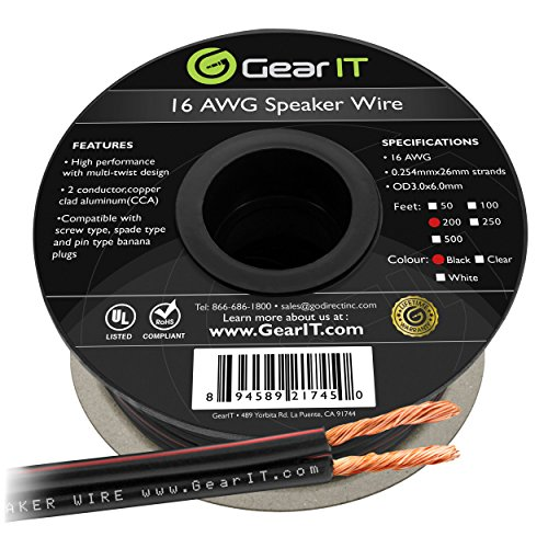Custom Installation Speaker Cable - 16AWG Speaker Wire, GearIT Pro Series 16 Gauge Speaker Wire Cable (200 Feet / 60.96 Meters) Great Use for Home Theater Speakers and Car Speakers, Black
