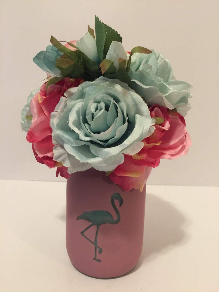 ANIMAL FUN - PINK AND BLUE GLASS FLAMINGO MASON JAR VASE - BLUE AND PINK MIXED FLORAL