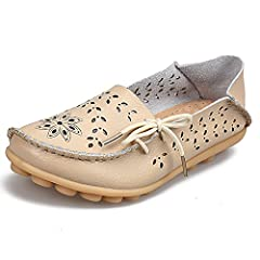 17b283b0b94 Women s Leather Loafers Moccasins Wild Driving Casual Flats O ..