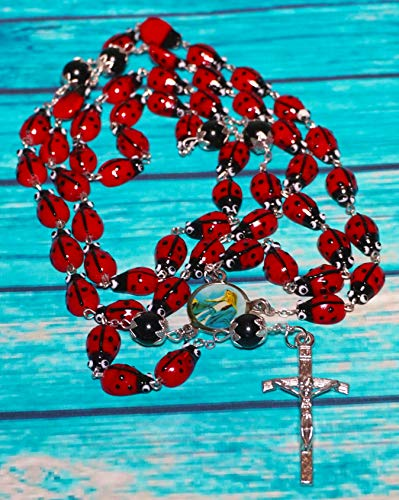 col-p Catholic Steel Rosary Ceramic Ladybug Devotional 29