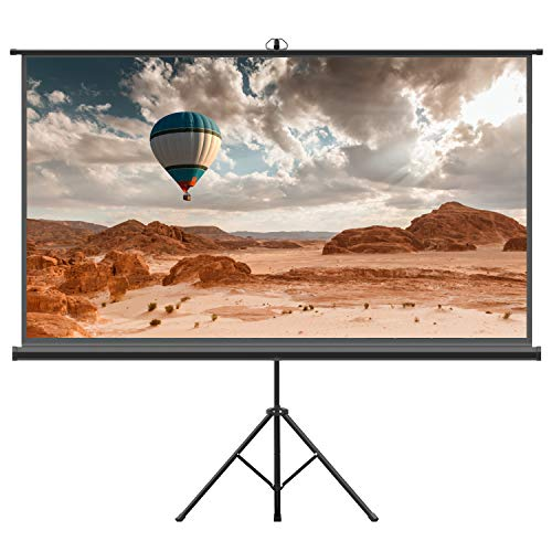 Projector Screen with Tripod Stand - FEZIBO 100 inch 16:9 HD Projection Screen with Stand Portable Foldable for Outdoor Indoor,160° Viewing Angle