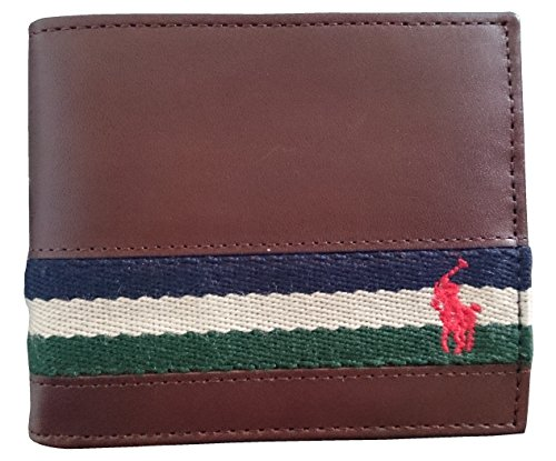 Polo Ralph Lauren Mens Ribbon Leather Brown Bifold Wallet