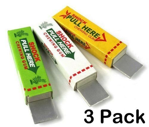 3 Pack of Electric Shock Chewing Gum Tricky Prank Gag Funny Toy Shock Friends Practical Joke,