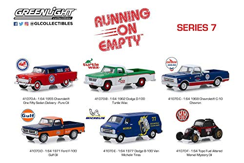 B-100 1971 Dodge Van - Greenlight Running On Empty Series 7 Diecast Car Set - Box of 6 Assorted 1/64 Scale Diecast Model Cars