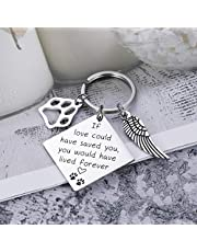 Pet Memorial Gift Keychain for Loss of Pet Dogs Cats Sympathy Gift for Friend Family Boss Remembrance Keyring Jewelry for Women Men Loved If Love Could Have Saved You Would Have Lived Forever