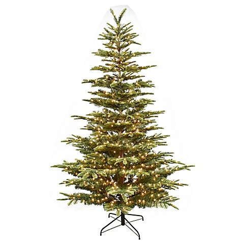 Aspen Fir Artificial Christmas Tree - Puelo International 7.5-Foot Aspen Fir Pre-Lit Artificial Christmas Tree with White Lights
