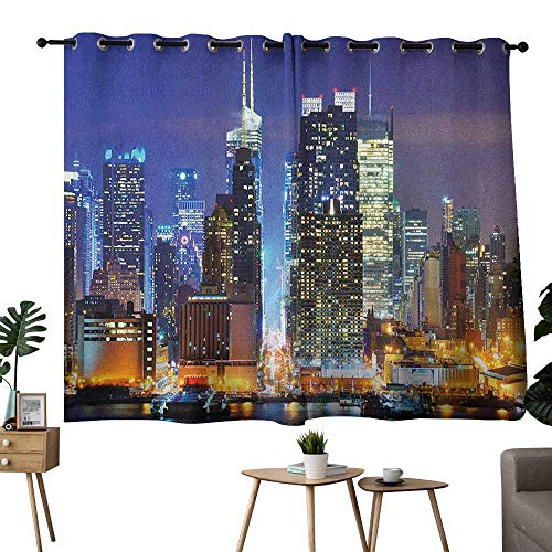 (United States Classical Curtain Manhattan View from Hudson River at Night Luminous Landscape Noise Reducing 55