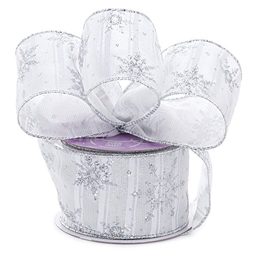 (White Silver Snowflake Christmas Ribbon - 2 1/2