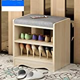 Best to Buy SHOE RACK - Premium Wooden Shoes Organizer, Storage, Cabinet, Holder Bench with removeable Soft PU Leather Seat Cushion for Entryway, Hallway. Solid Nordic Wood (Chestnut Ivory white)