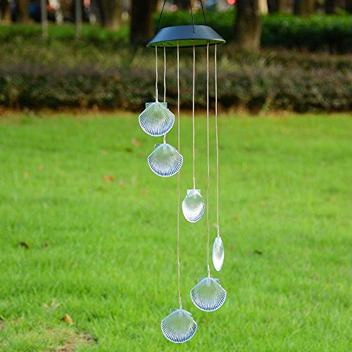 (Yescom Solar Powered LED Color Changing Shell Wind Chime Light Waterproof Home Garden Yard Christmas Xmas Decor)