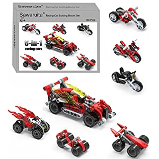 Motorcycle and Vehicles Building Blocks Set, 6-in-1 Flame Racing Car Toys,Great Gift for Kids (189 Pieces)