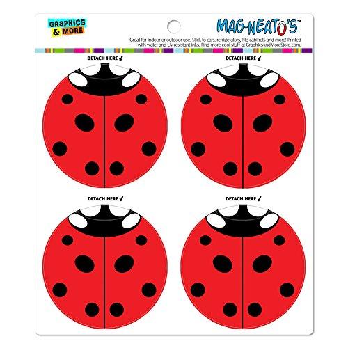 Lady Bug Ladybug Insect Automotive Car Refrigerator Locker Vinyl Magnet Set
