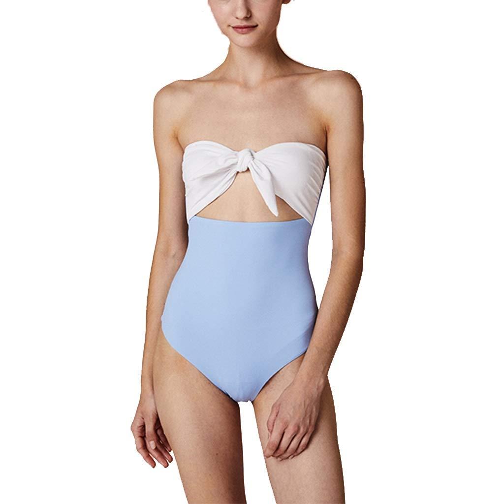 bluee Swim Swimwear Women's One Piece Swimsuit Bow Tube Top Swimwear Beach Swimwear Bikini Sexy Lingerie Gift Swimsuit (color   Yellow, Size   L)