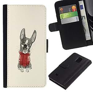 All Phone Most Case / Oferta Especial Cáscara Funda de cuero Monedero Cubierta de proteccion Caso / Wallet Case for Samsung Galaxy Note 4 IV // perrito lindo dibujo de bosquejo suéter
