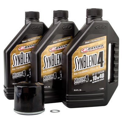 Tusk 4-Stroke Oil Change Kit Maxima Synthetic Blend 10W-40 - Fits: Yamaha GRIZZLY 400 4x4 2007-2008