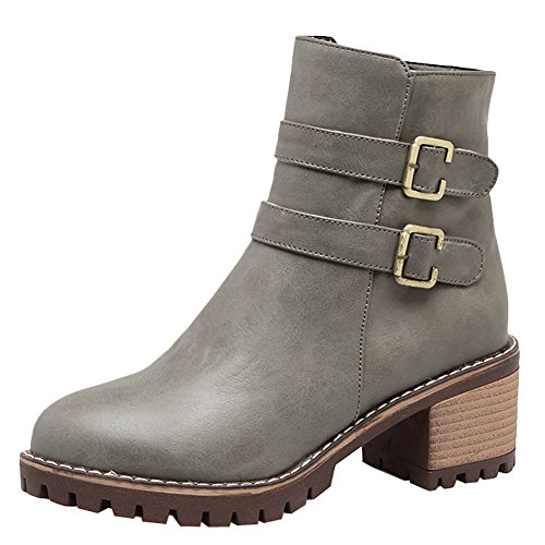 Carolbar Womens Fashion Zip Buckle Vintage Retro Mid Heel Autumn Boots Grey r3vnRiBas