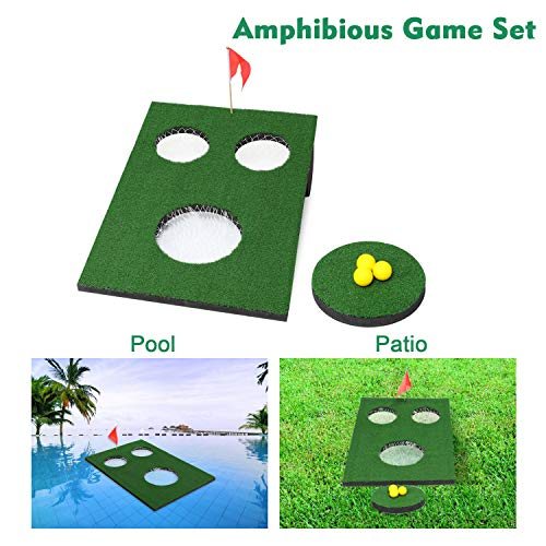 OOFIT Amphibious Golf Green Floating Backyard Pool Game, Chipping Cornhole Game Board with Chipping Mat for Indoors, Outdoor,Backyard and Tailgate ...