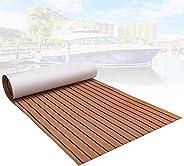 """Boat Flooring EVA Non-Slip Marine Teak Decking Sheet 94.5""""× 35.4"""" Bevel Edges for Yacht Floor, Swi"""
