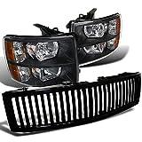09 silverado 1500 speakers - Chevy Silverado 1500 Front Headlights+Glossy Black Vertical Hood Grille