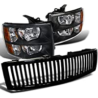 Chevy Silverado 1500 Front Headlights+Glossy Black Vertical Hood Grille