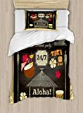 Ambesonne Hawaii Twin Size Duvet Cover Set, Traditional Tiki Bar Poster Design with Coconut Drink and Aloha Slogan Bamboo Frame, Decorative 2 Piece Bedding Set with 1 Pillow Sham, Multicolor