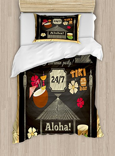 Ambesonne Hawaii Twin Size Duvet Cover Set, Traditional Tiki Bar Poster Design with Coconut Drink and Aloha Slogan Bamboo Frame, Decorative 2 Piece Bedding Set with 1 Pillow Sham, Multicolor by Ambesonne