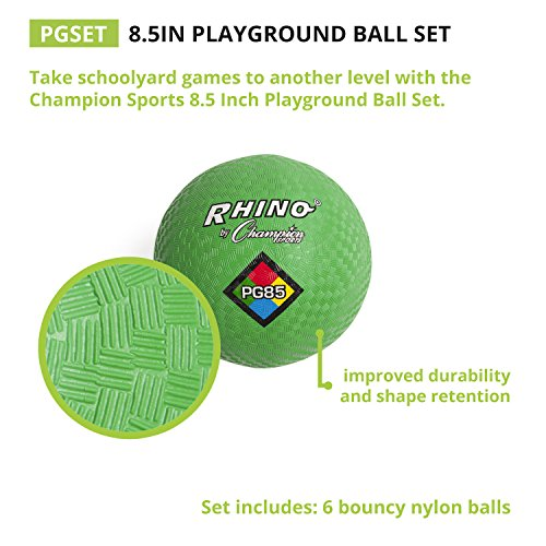 Champion Sports Playground Ball Set: 6 Multi Colored Textured Nylon Soft Rubber Bouncy Indoor Outdoor Balls Perfect for Kids Dodgeball Kickball Foursquare or Handball Games