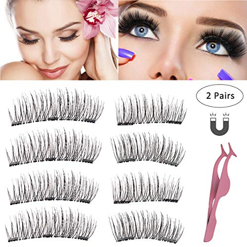 Magnetic Eyelashes 3 or 2 Magnets Magnetic Lashes Natural Full Eye Magnetic Fake Lashes Ultra Thin Dual Magnet Eyelashes 3D False Eyelashes with Natural Look & Premium Quality with Applicator (2 Sets)
