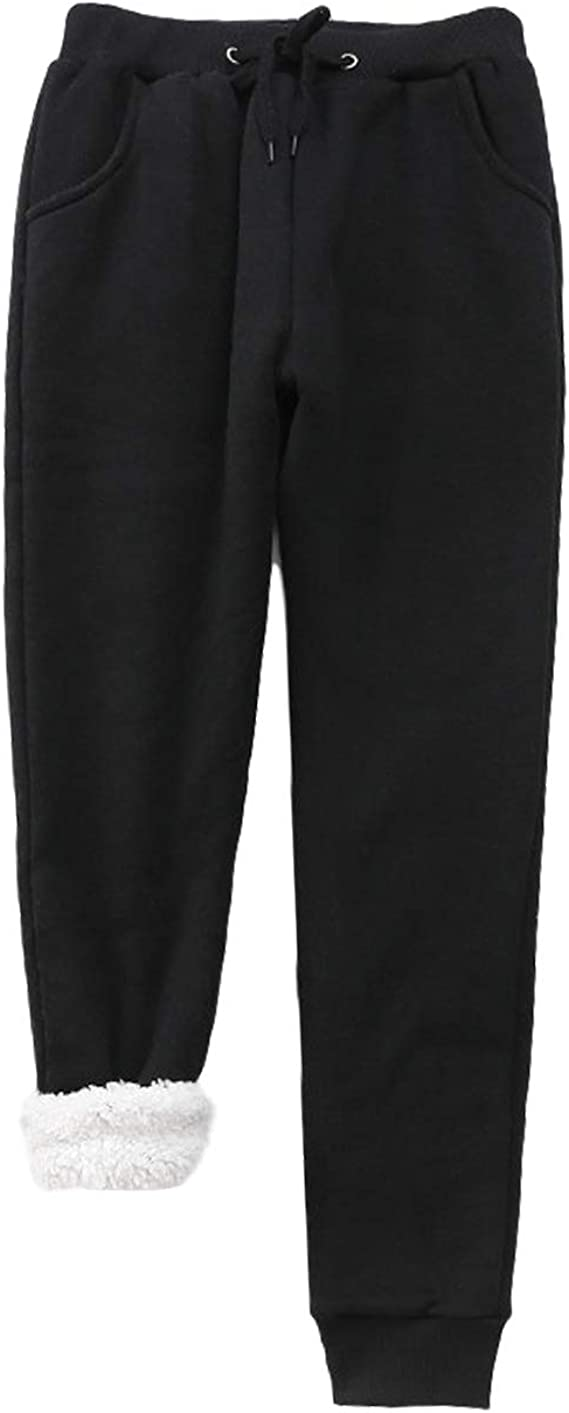 HeSaYep Womens Warm Sherpa Lined Sweatpants Drawstring Athletic Jogger Fleece Pants with Pockets