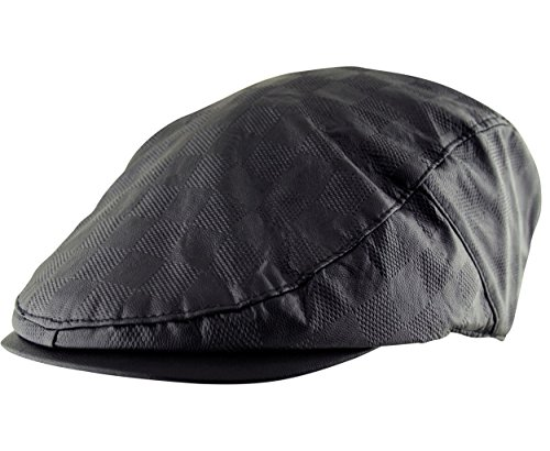 Itzu Men's Flat Cap Faux Leather Hat Dotted Check Pre Curved Lined Gatsby Golf Newsboy in Black