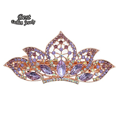 Price comparison product image Petbly(TM) Fashionable Women's Purple Imitation Crystal Lotus Shape Decoration Hair Clip Girl's Banquet Jewelry