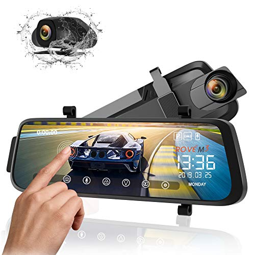 Rove M3 Streaming Mirror Dashboard Camera, FHD 1080p Front and Rear View 9.66 Inch Touch Screen Monitor Dual Lens Dash Cam with Built in Backup Camera, GPS Player, Parking G-Sensor, Motion Detection