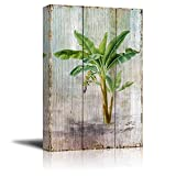 wall26 Canvas Prints Wall Art - Tropical Plant Blossom on Vintage Wood Background Rustic Home Decoration - 12'' x 18''
