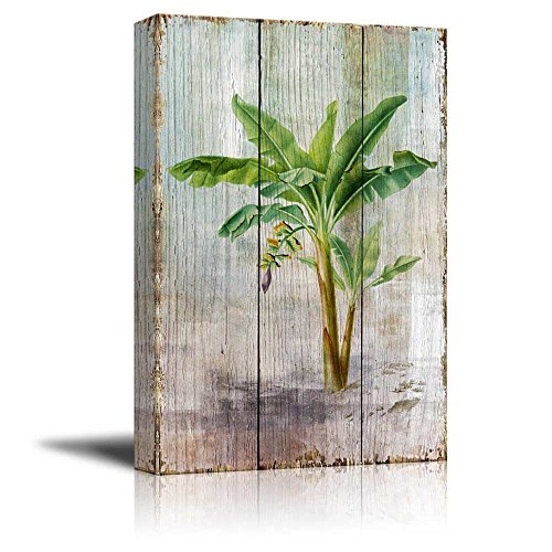 Tropical Plant Blossom on Vintage Wood Background Rustic ation