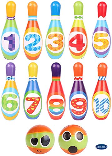 AMOMO Kids Bowling Set Toddlers Educational Toys 10 Indoor Colorful Soft Foam Pins 2 Bowling Balls Printed with Number Developmental Toys Sport Gift for Baby Boys Girls Age 3 4 5 6 Years Old