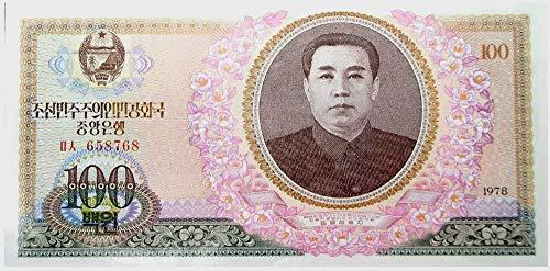 (1978 KP ORIGINAL 1978 NORTH KOREA 100 WON w DEAR LEADER (KIM JUN UN'S FATHER)! WOW! 100 WON Choice Crisp Uncirculated)