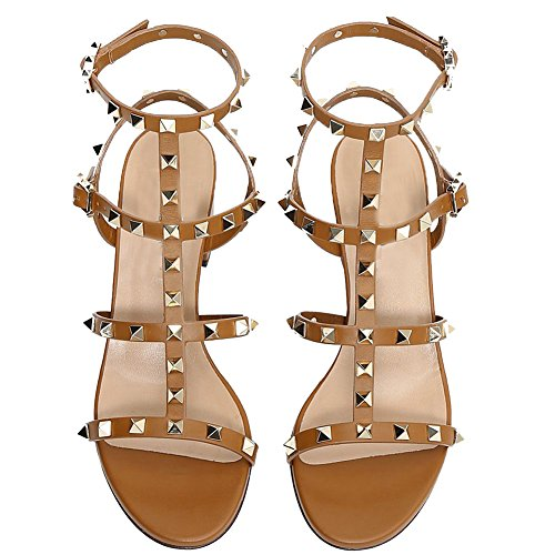 Comfity Brown Dress for 5cm Slingback Sandals Women Out Strappy Light Rivets Shoes Block Studded Sandals Gladiator Heels Cut qfUqxra