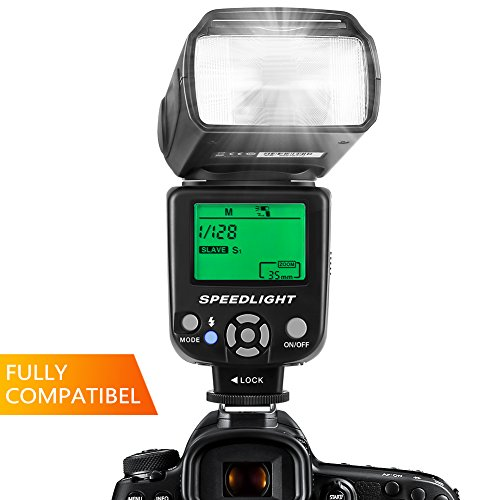 ESDDI Flash Speedlite for Canon Nikon Panasonic Olympus Pentax and Other DSLR Cameras, Built-in Wireless System with LCD Panel Display by ESDDI