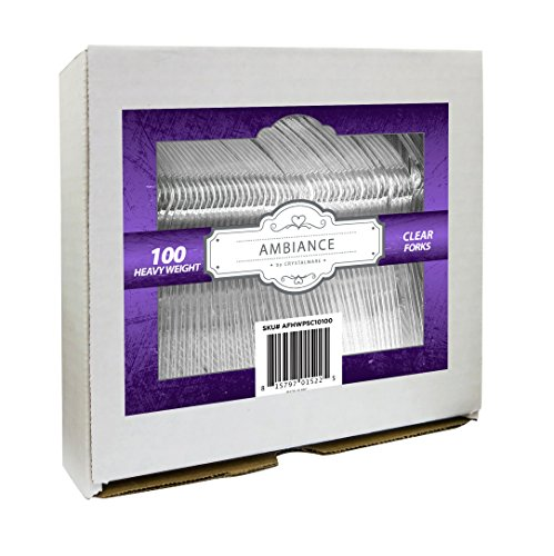 eight Clear Plastic Forks, Durable, Disposable, 100/box ()