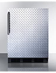 Summit FF7BBIDPL Refrigerator, Silver With Diamond Plate