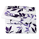 Purple and White Bed Sheets Dor Extreme Super Soft Luxury Bed Sheet Set in 9 Prints, Full, Purple Floral, 6 Piece