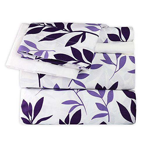 babykidsbargains Dor Extreme Super Soft Luxury Floral Bed Sheet Set in 6 Prints, 4 Piece, Twin, Purple Floral