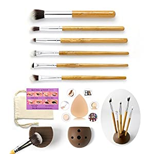 Eye Makeup Brushes 6 Pieces Essential Eye Brush Set for Eyeliner Eyeshadow Brow Smudge Cosmetic Tools Kits Plus Bonus Sponge Blender Cleaner Holder Quick Eye Stencils Pouch Bag
