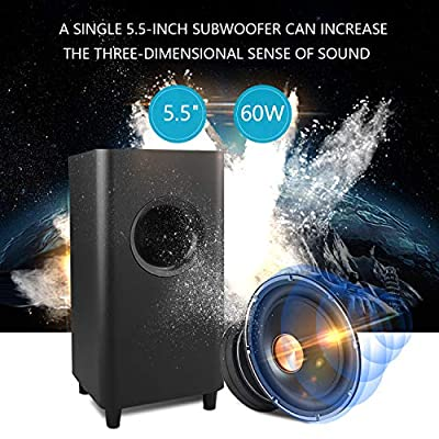 Sound Bar WOHOME 2.1 Channel Bluetooth Soundbar for TV with Subwoofer Surround Home Theater System 34-inch Soundbar 5.5-inch Subwoofer 4 Speakers 120W 95dB Remote Control Newest Model S18