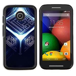 Qstar Arte & diseño plástico duro Fundas Cover Cubre Hard Case Cover para Motorola Moto E (Resumen Cubo)