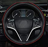 Rueesh Microfiber Leather Car Steering Wheel Cover, Soft Padding, Durable, No Smell, Universal 15 Inch Steering Cover, Anti-slip Embossing Pattern A, Black with Red Line