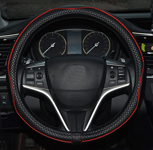 (Rueesh Microfiber Leather Car Steering Wheel Cover, Soft Padding, Durable, No Smell, Universal 15 Inch Steering Cover, Anti-slip Embossing Pattern A, Black with Red Line)